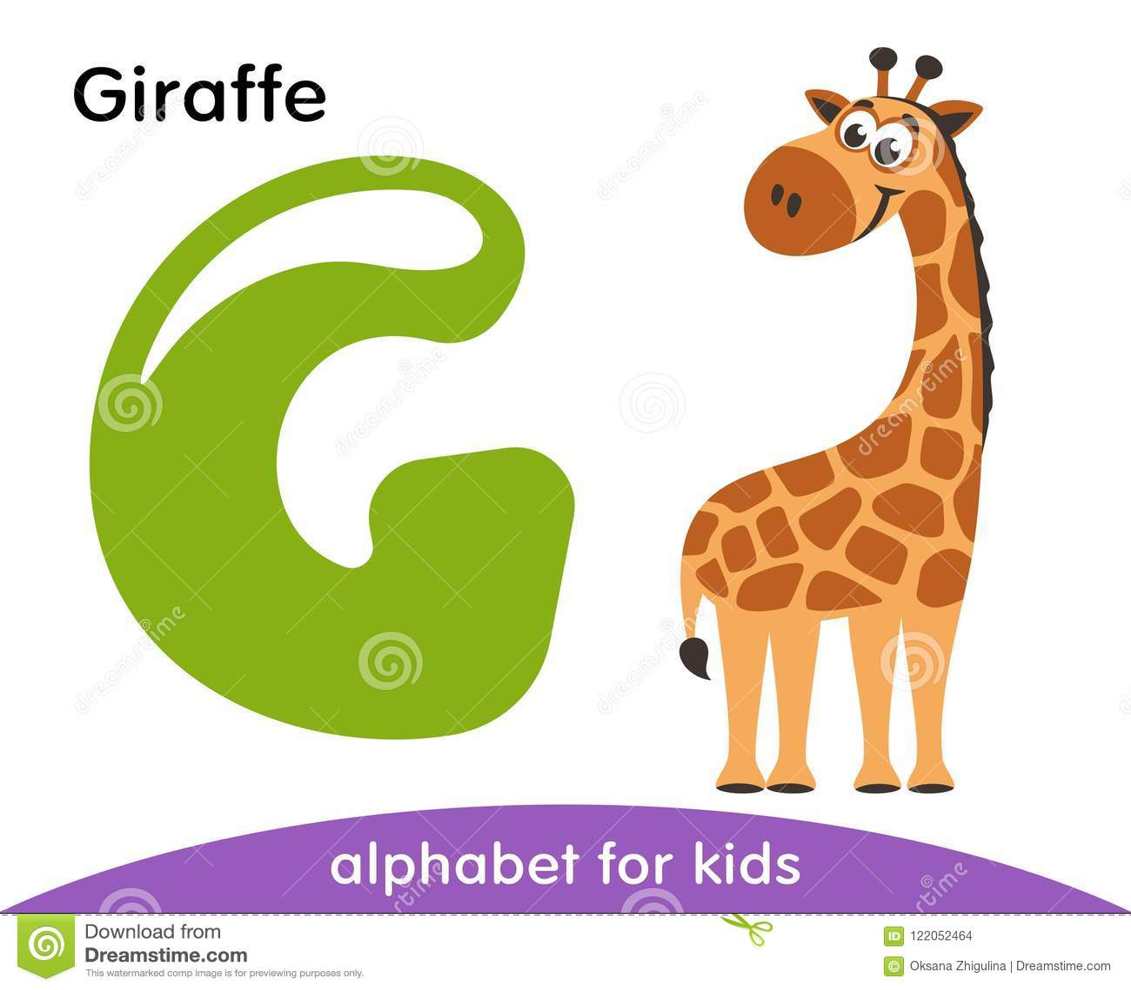 Green Letter G And Brown Giraffe Stock Illustration