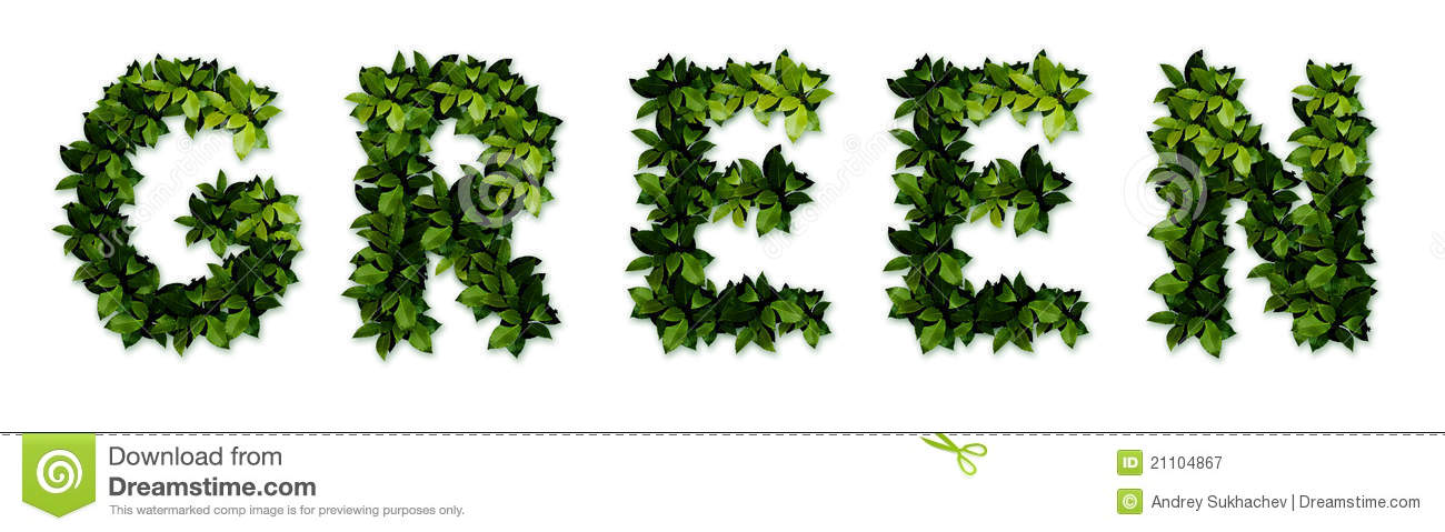 green letters stock image