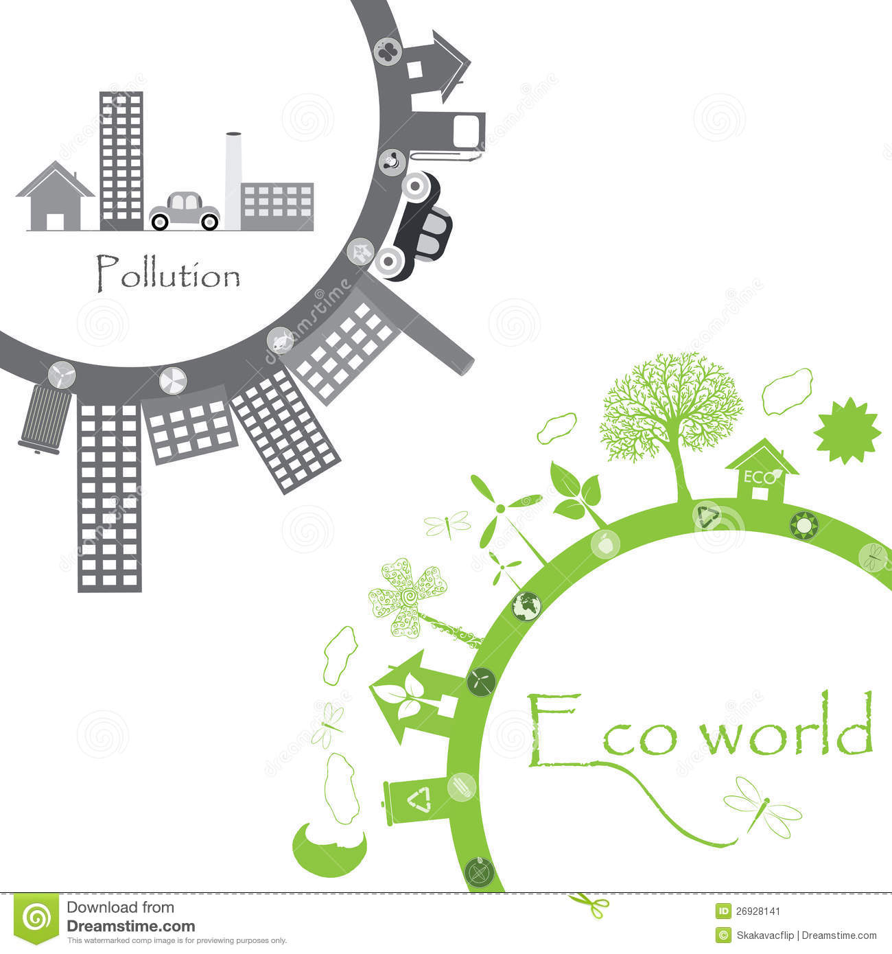 Green Life Vs Pollution Stock Image  Image 26928141