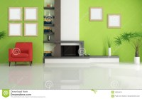 Green Living Room With Modern Fireplace Stock Images ...