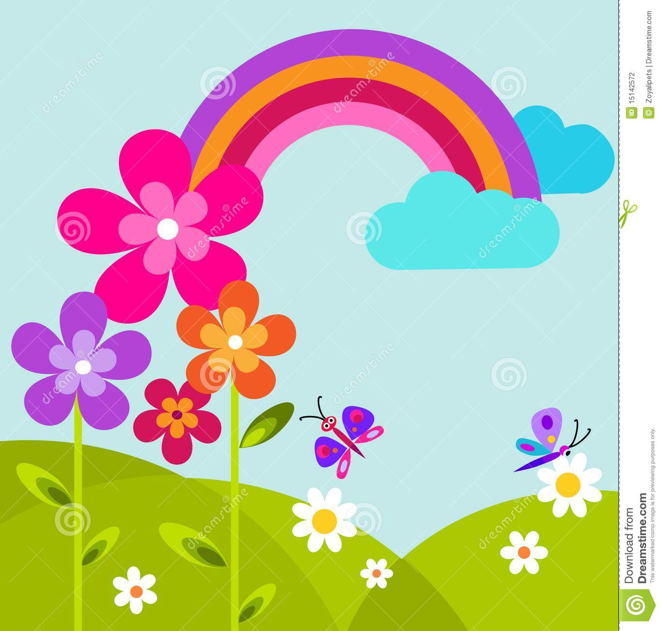 Green Meadow With Butterfly Rainbow And Flowers Stock