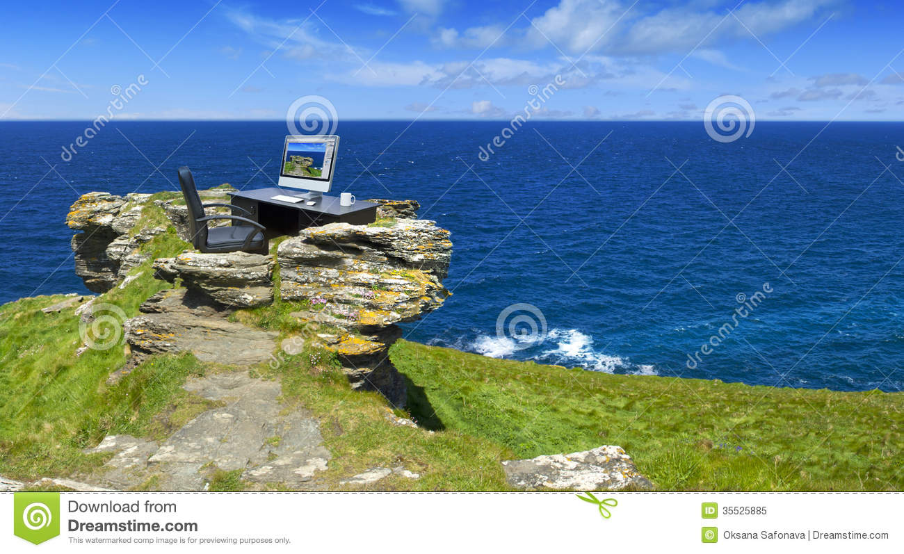 Green Office With Ocean Views Stock Image  Image 35525885