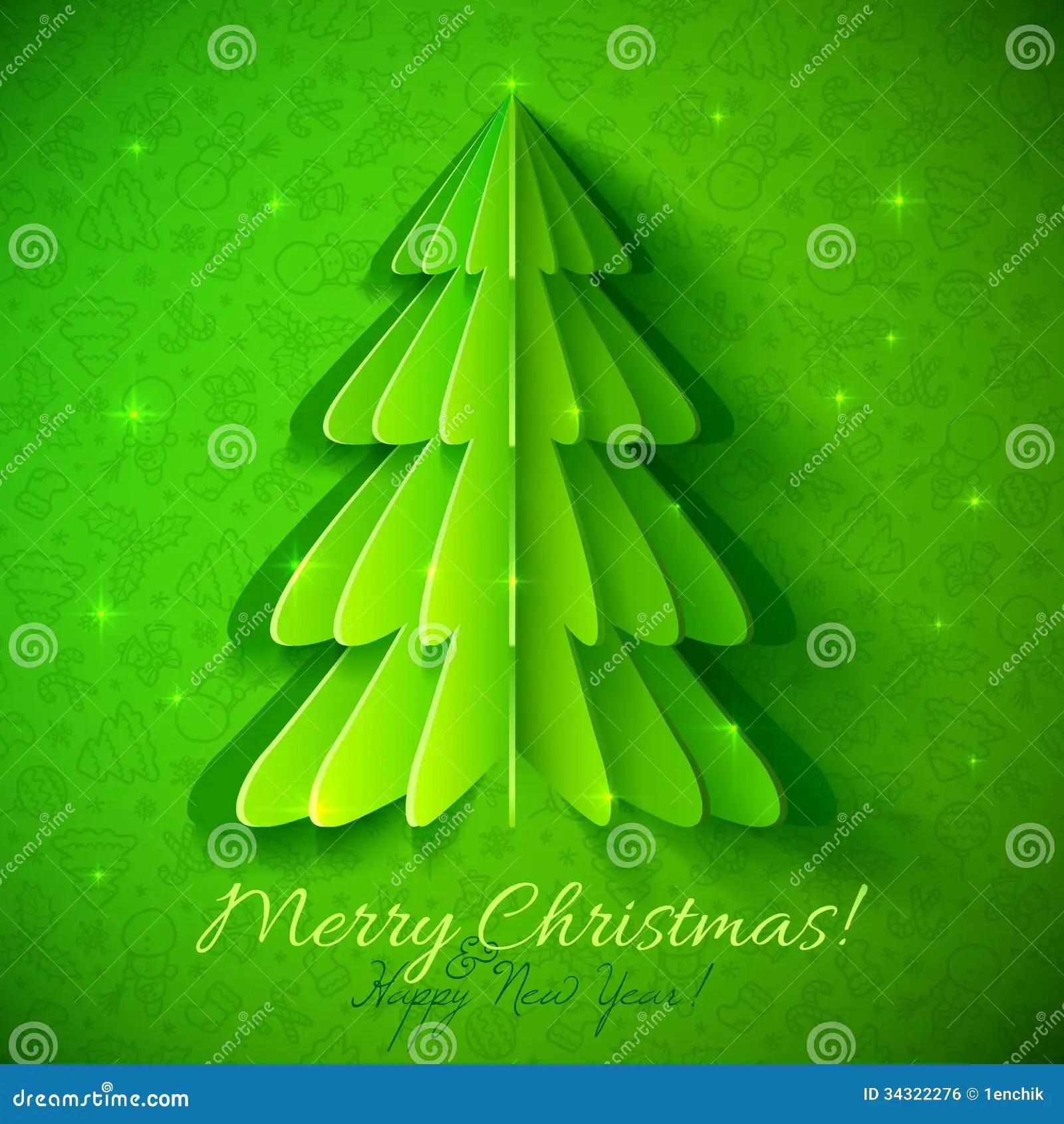 Green Origami Christmas Tree Greeting Card Stock Vector