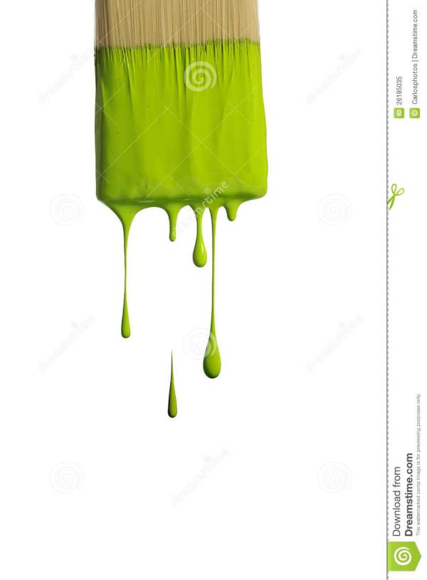 Green Paint Dripping Brush Royalty Free Stock