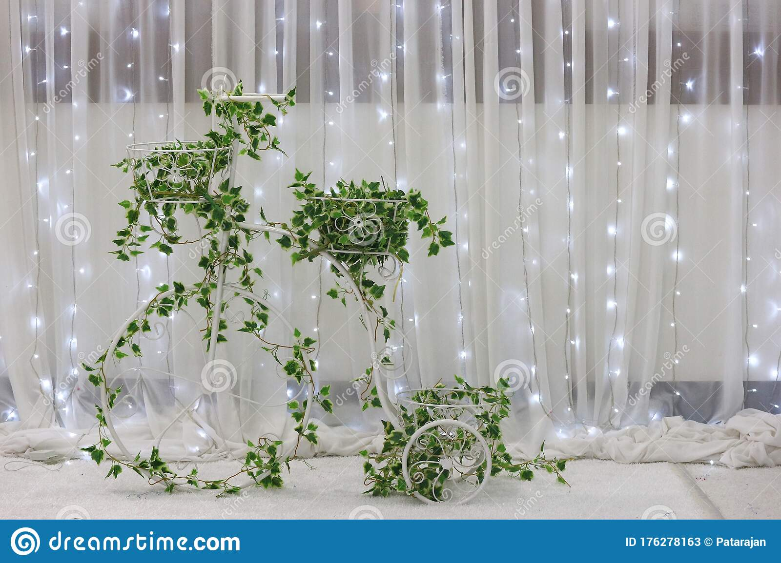 a green plant bicycle decorating on wedding party with illumination light curtain wall as background stock image image of beauty curtain 176278163