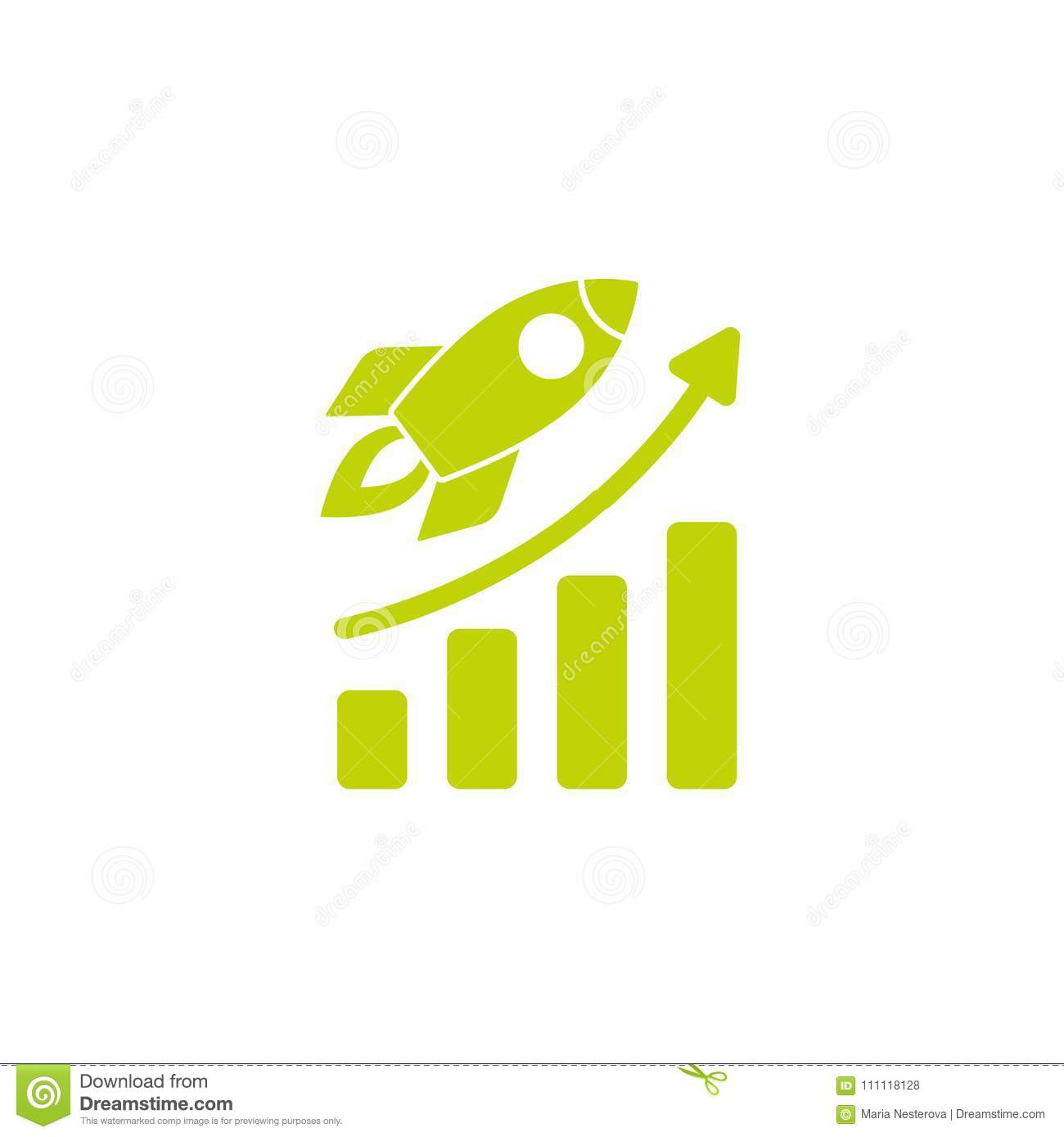 real rocket ship diagram on acids and bases ph scale green with fire growth isolated white