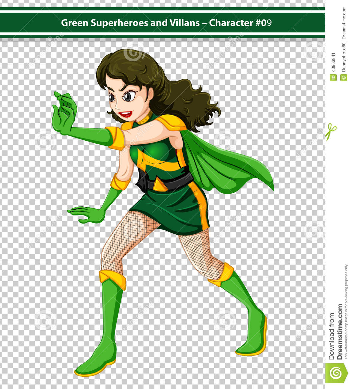 hight resolution of illustration of a female superhero in action