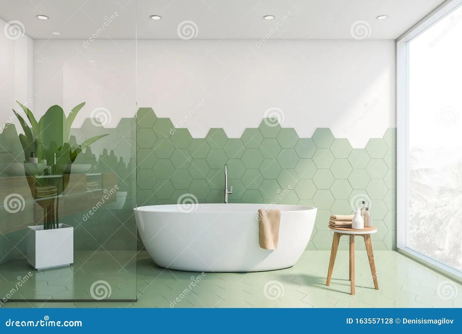 https www dreamstime com green white tile bathroom interior tub stylish hexagonal walls panoramic window comfortable bathtub towel d image163557128