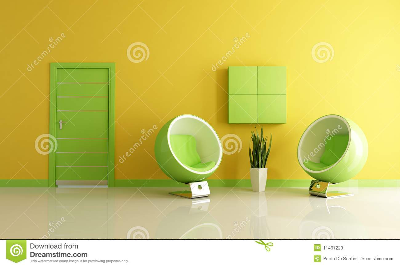 Green And Yellow Living Room Stock Photo  Image 11497220
