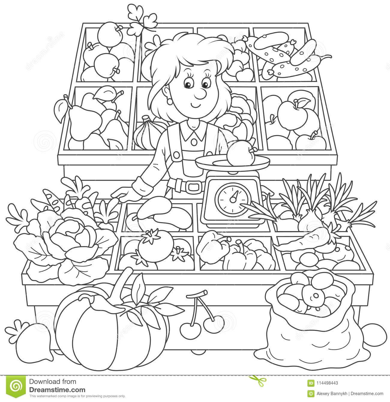 Greengrocer In A Market Stock Vector Illustration Of
