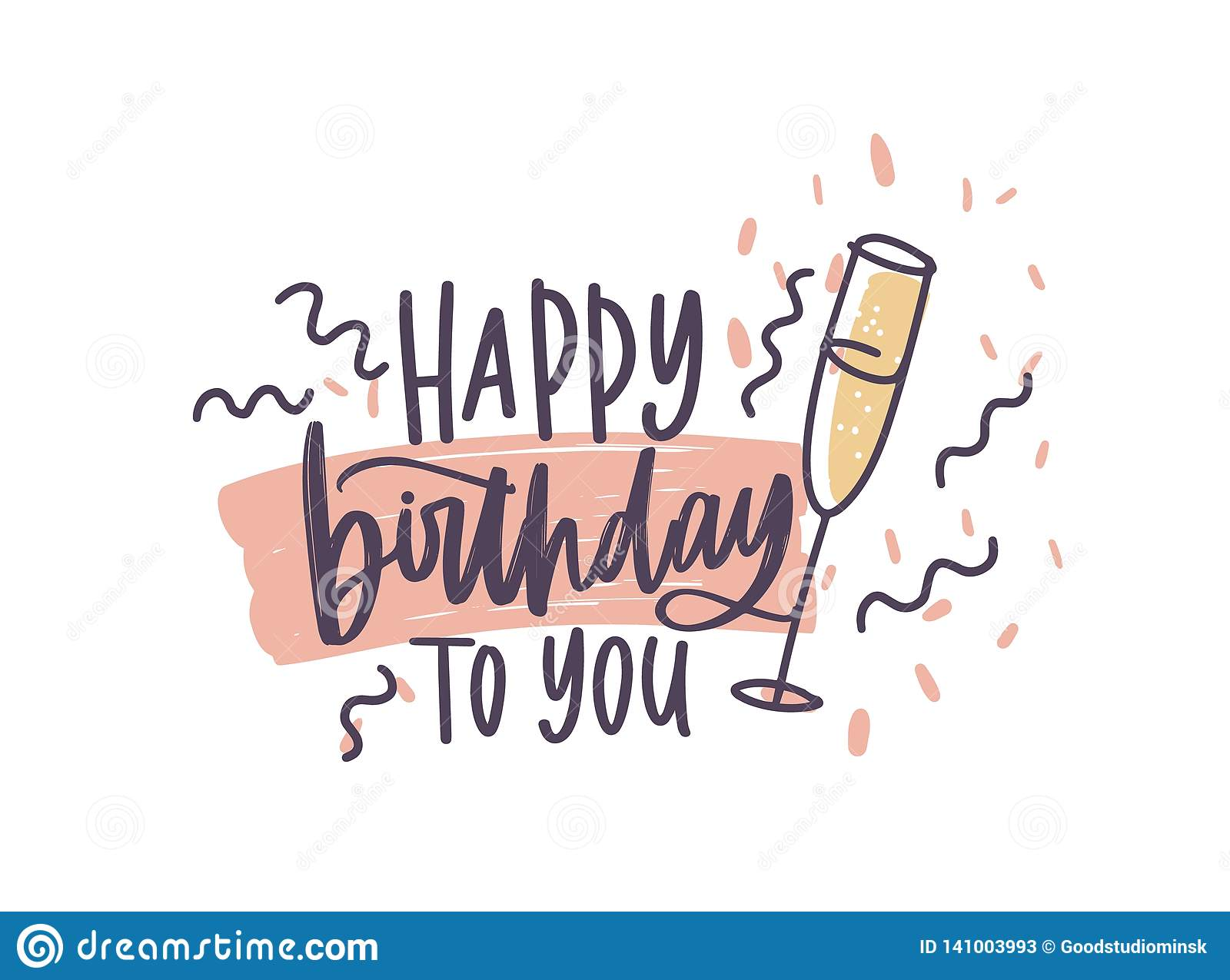 Greeting Card Or Postcard Template With Happy Birthday To