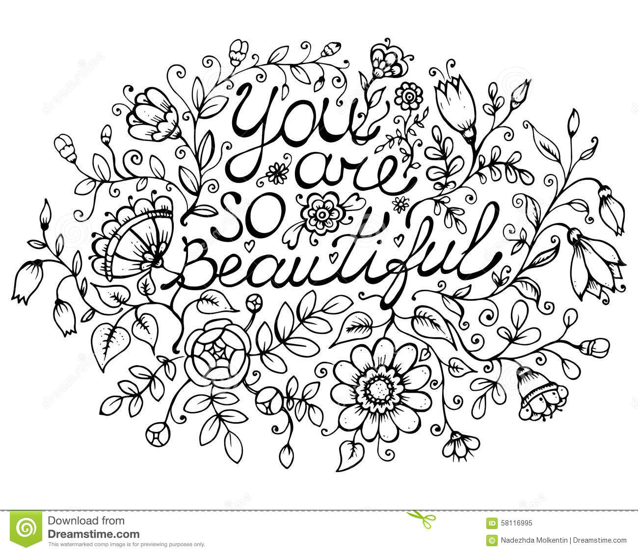 Greeting Card You Are So Beautiful Stock Illustration