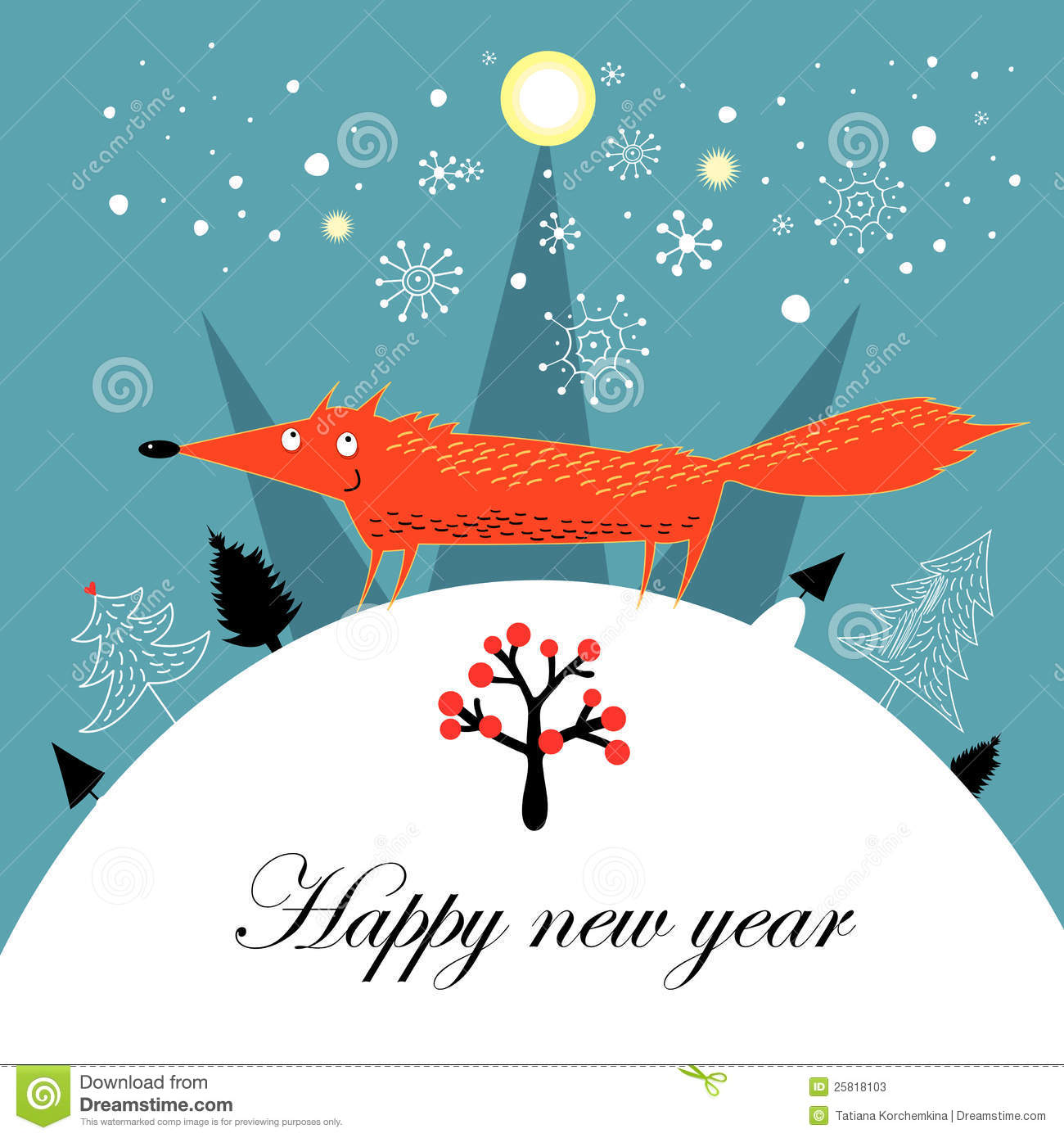 Greeting Christmas Card With A Fox Stock Vector