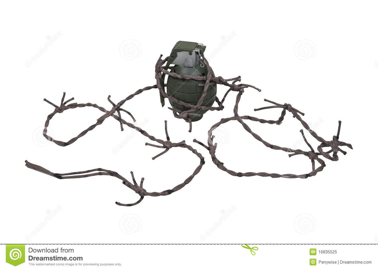 Grenade And Barbed Wire Royalty Free Stock Photo