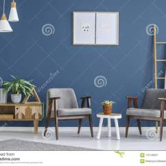 Grey Modern Armchairs Best Folding Lawn Chair And Blue Living Room Stock Image Of 115149927 Plant On White Table Between In Interior With Posters Wooden Cupboard