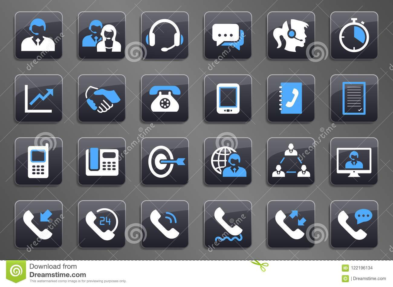 24 Grey Call Center Communication Button Icons Stock