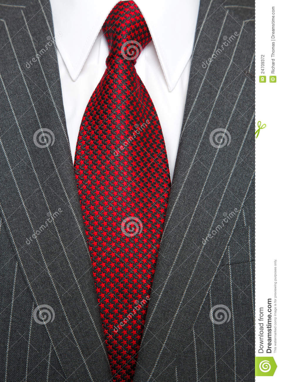 Grey Pinstripe Suit And Red Tie Stock Photo