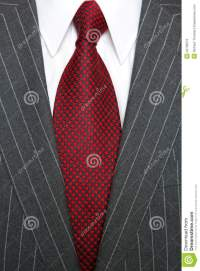 Grey Pinstripe Suit And Red Tie Stock Photo - Image: 24709372