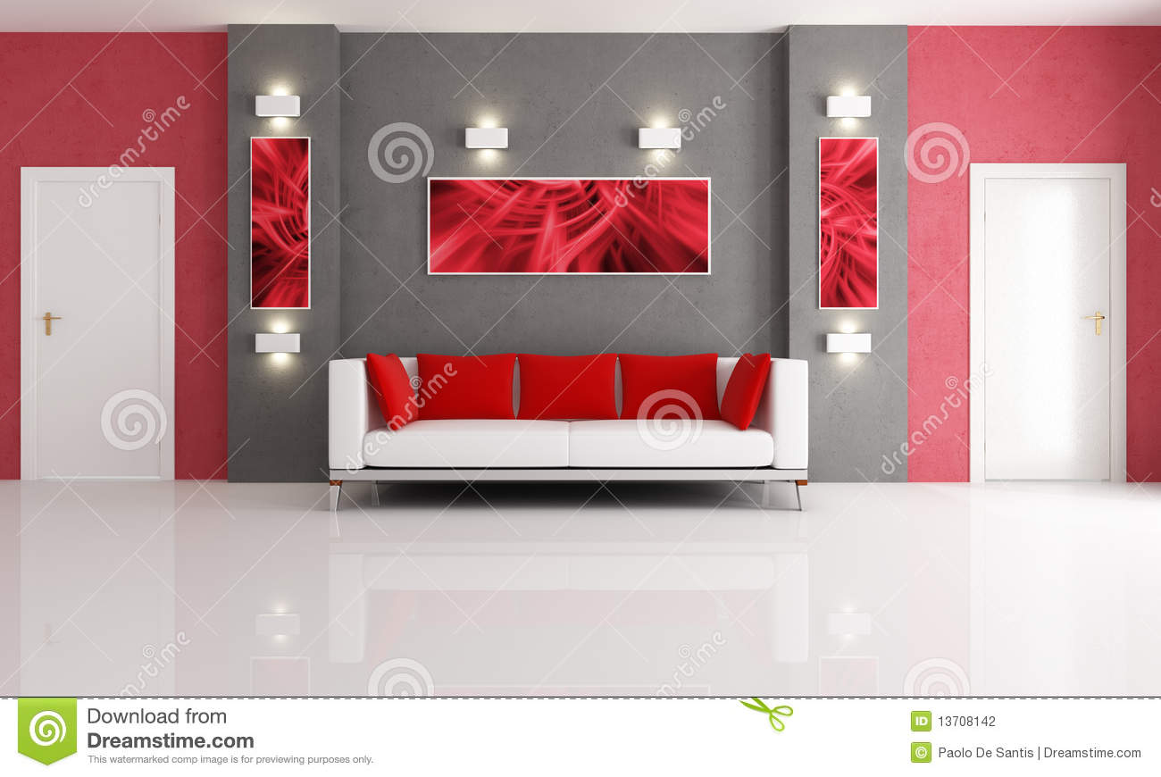 Grey and red living room stock illustration Illustration of furniture  13708142
