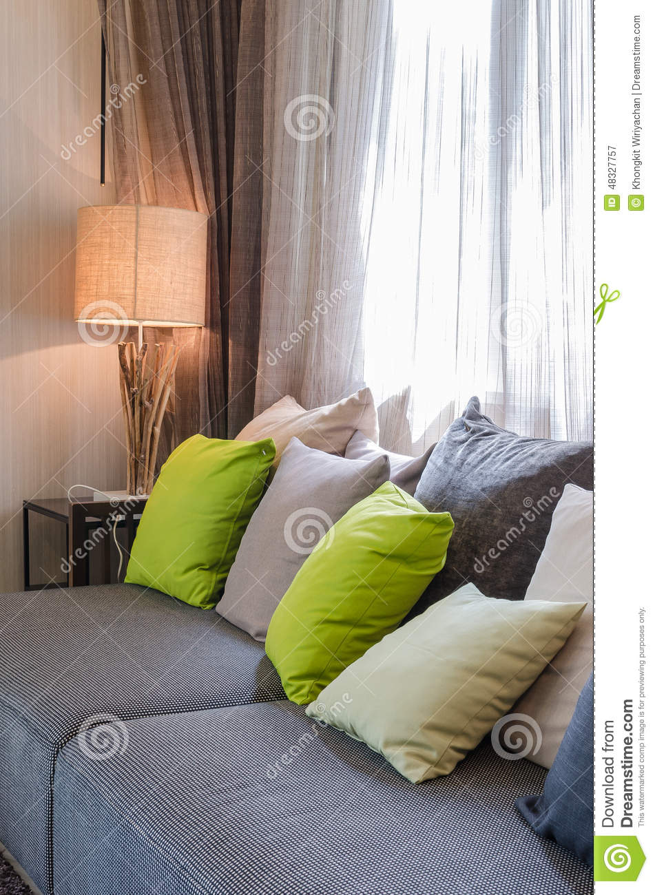 Grey Sofa With Green Pillows In Living Room Stock Photo Image