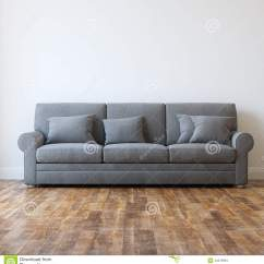 Classic Sofa Is Bed One Word Or Two Grey Textile In Minimalist Interior Room Stock Photo