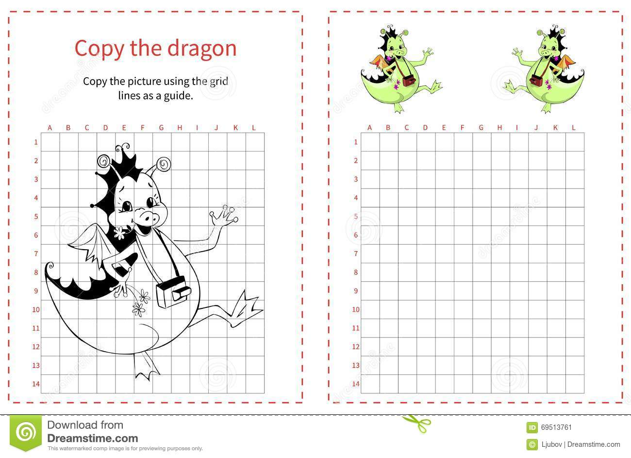 Grid Copy Children Educational Creative Game Vector