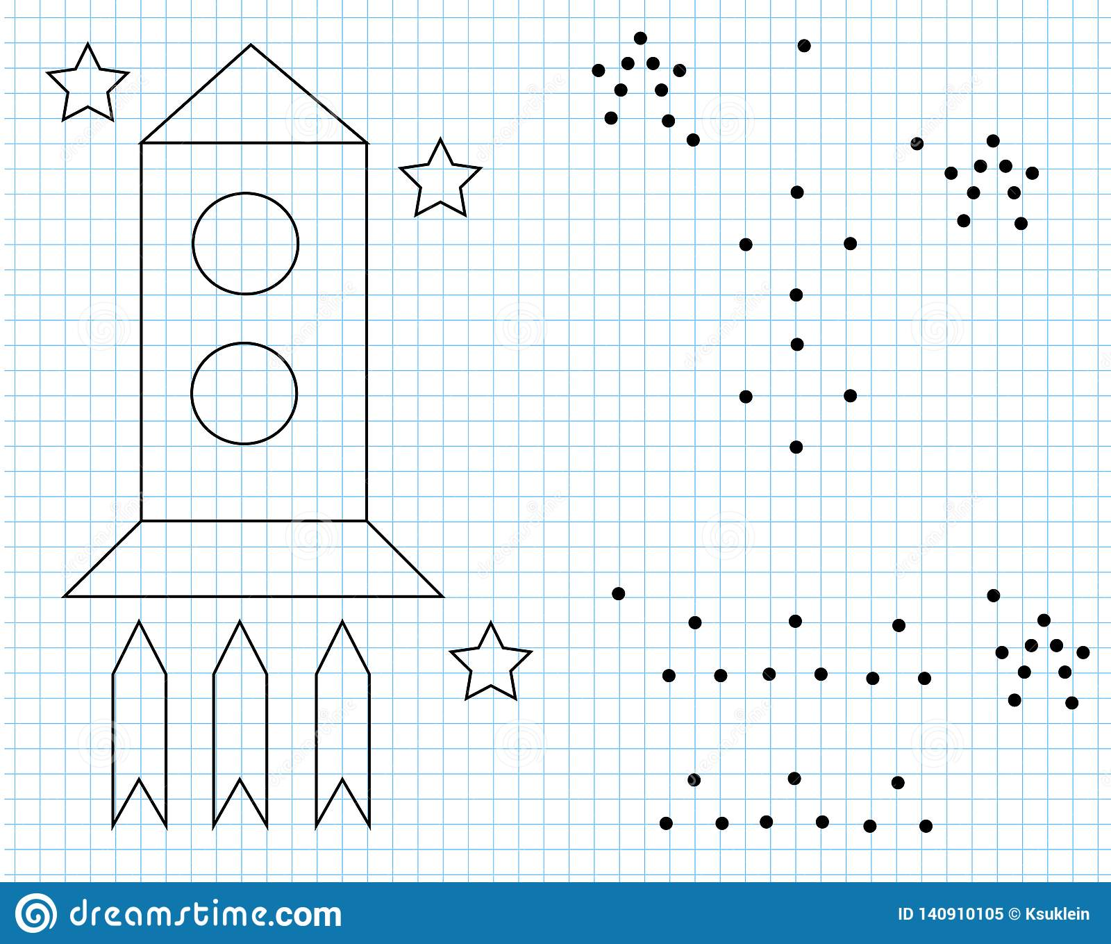 Grid Copy Worksheet Educational Children Game Drawing