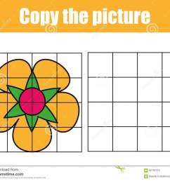 grid copy game complete the picture educational children game printable kids activity sheet with flower copy the picture [ 1300 x 1076 Pixel ]