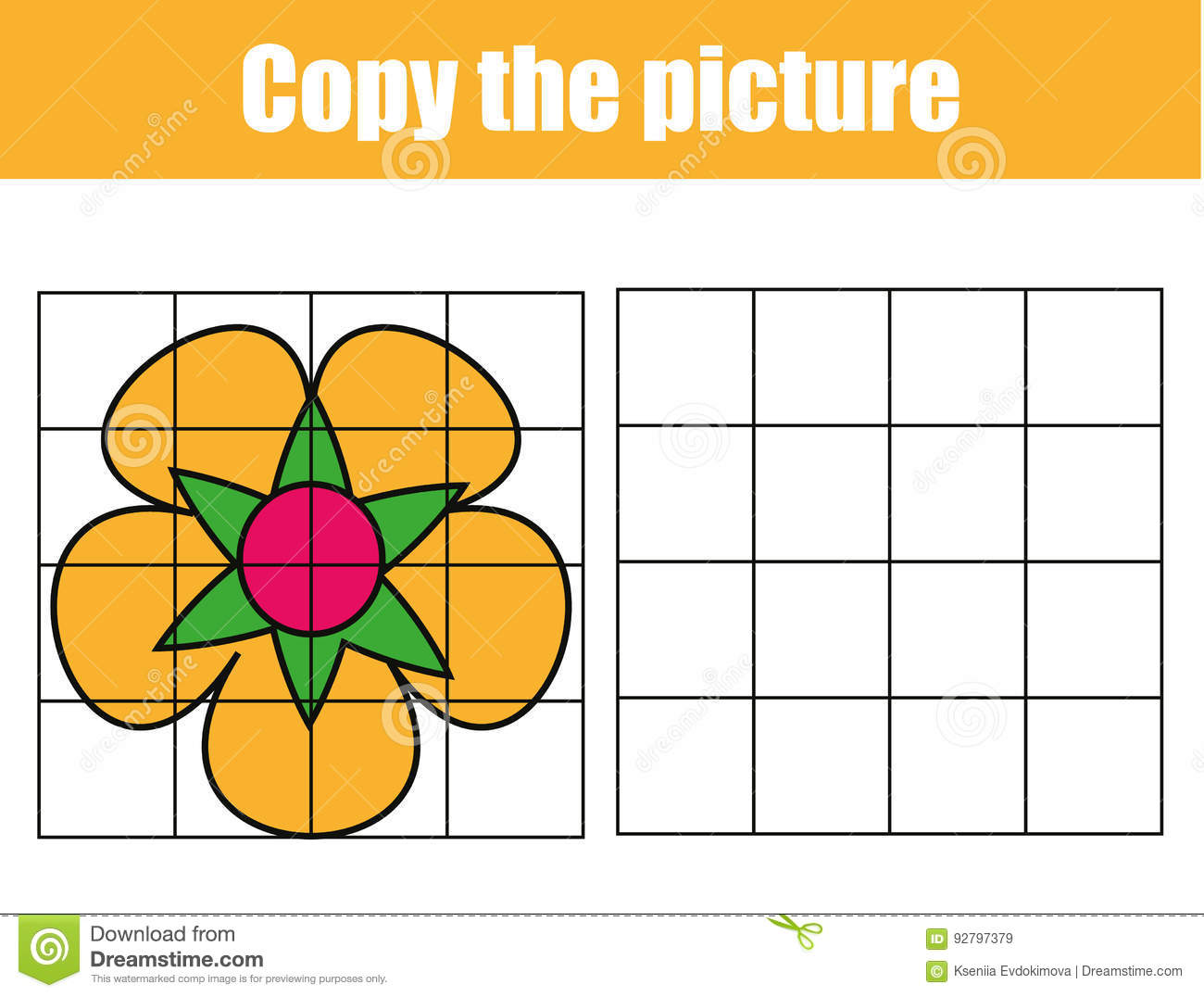 hight resolution of grid copy game complete the picture educational children game printable kids activity sheet with flower copy the picture