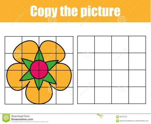 small resolution of grid copy game complete the picture educational children game printable kids activity sheet with flower copy the picture