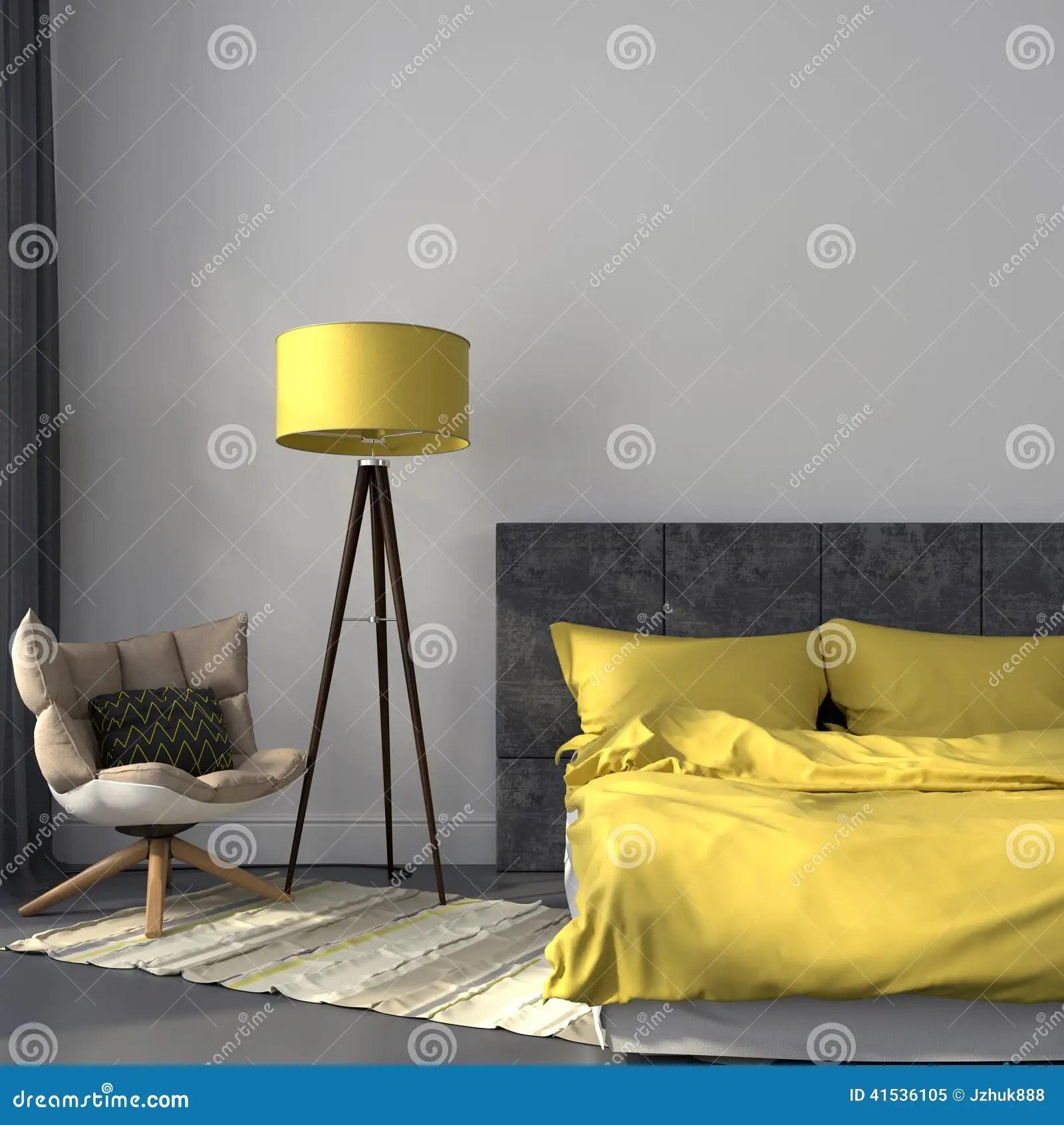 Grijze Slaapkamer En Geel Decor Stock Afbeelding