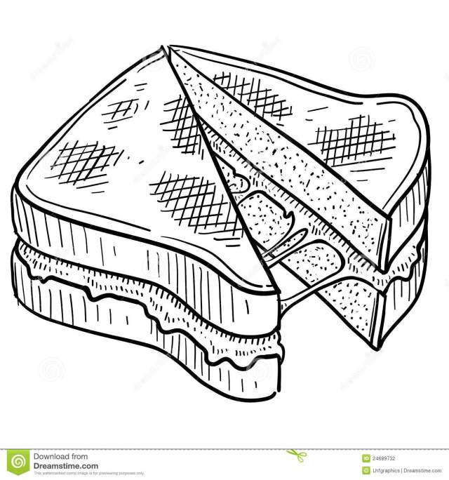 Grilled Cheese Sandwich Sketch Stock Vector - Illustration of food