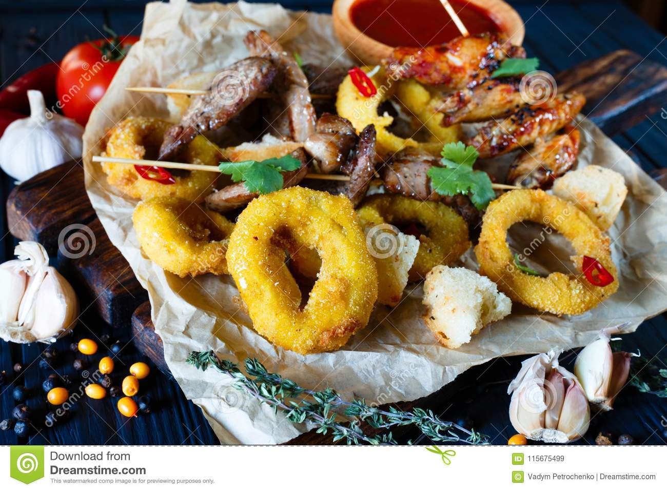 Deco Snack Grilled Meats Assortment Onion Rings In Breadcrumbs Rusks Deco