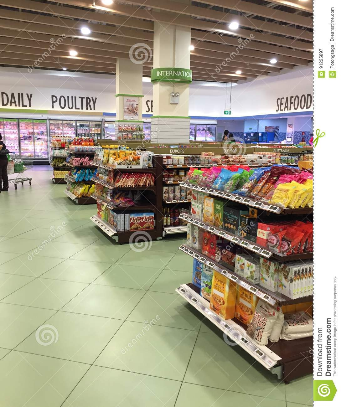 Grocery Shopping Food Display Shelves At Supermarket