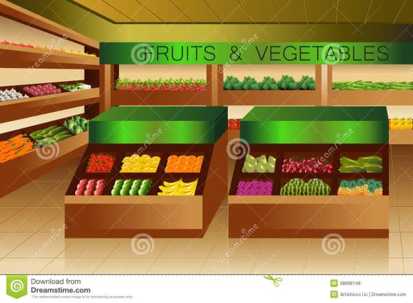 Grocery Store Fruits And Vegetables Section Stock Vector