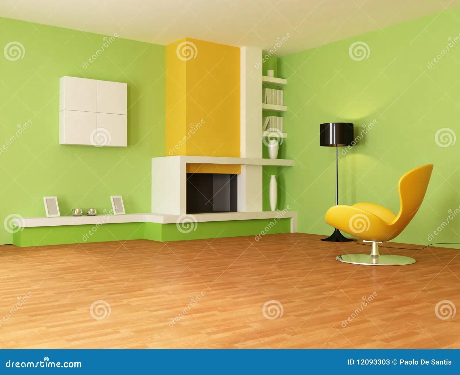 Groene En Oranje Woonkamer Stock Fotos  Afbeelding 12093303