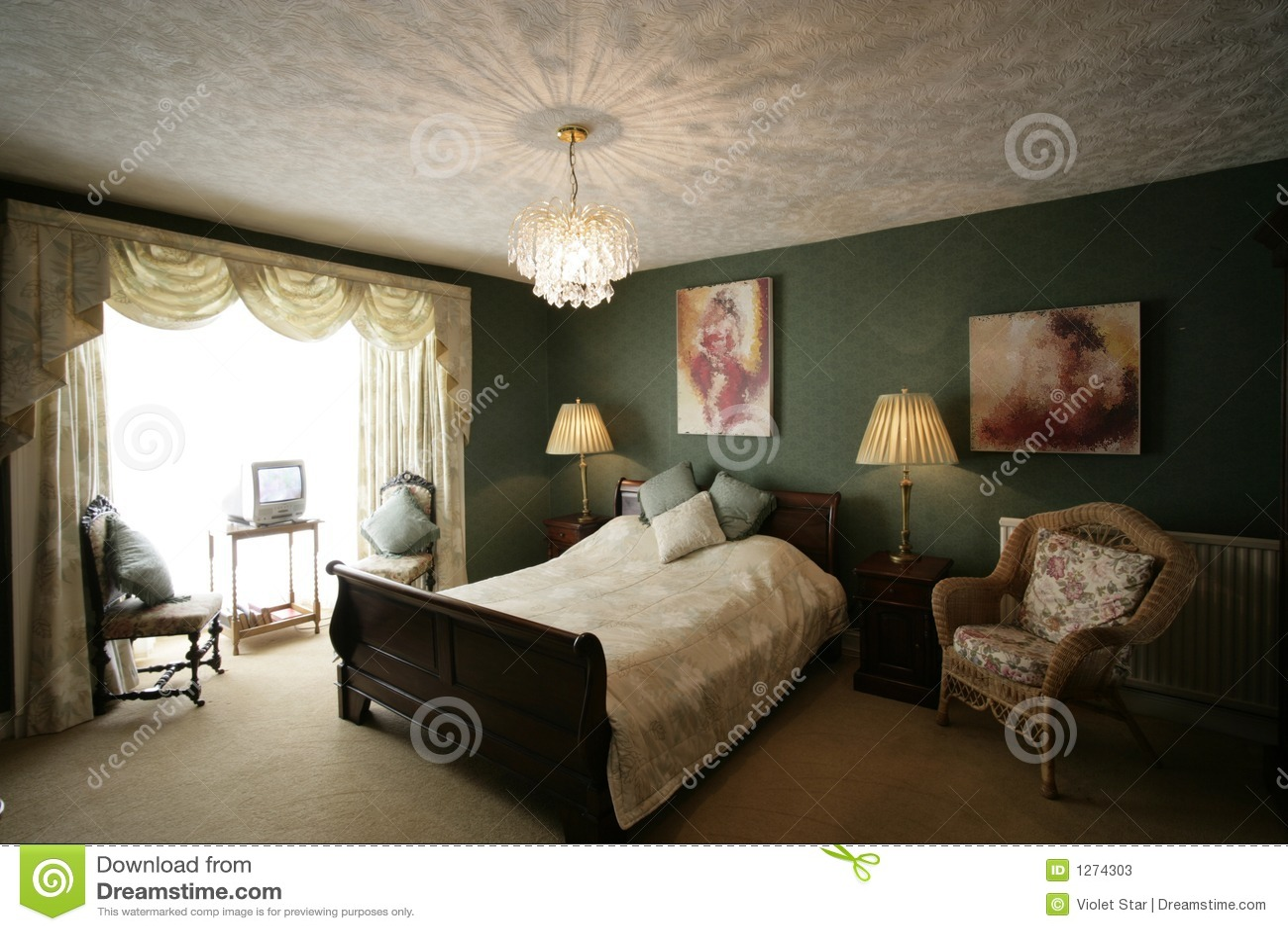 Groene slaapkamer stock afbeelding Afbeelding bestaande