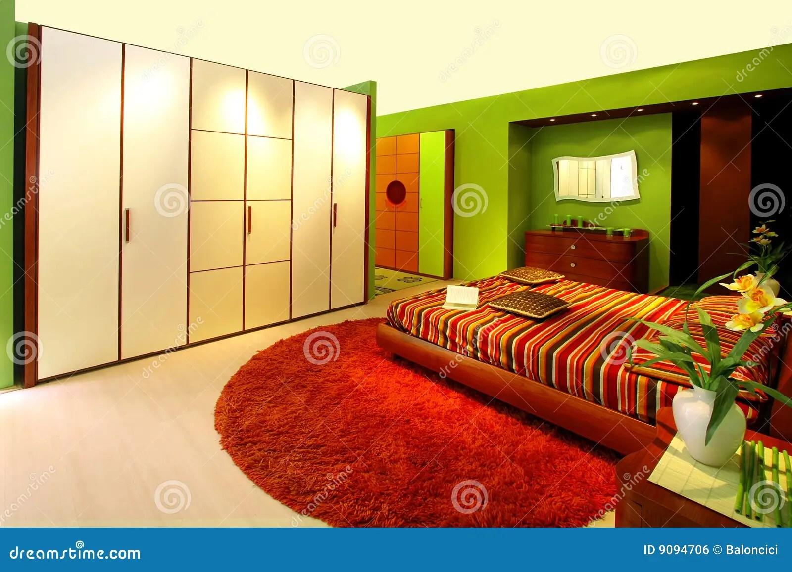 Groene slaapkamer stock foto Afbeelding bestaande uit