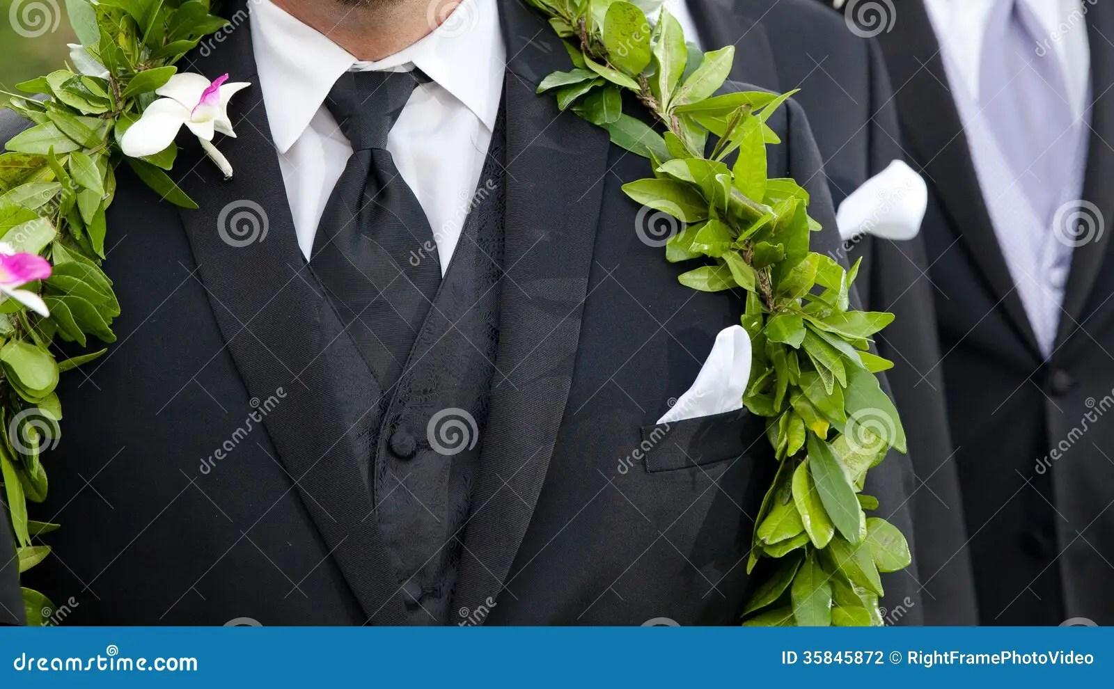 Grooms Flowers Hawaiian Wedding Stock Photo Image