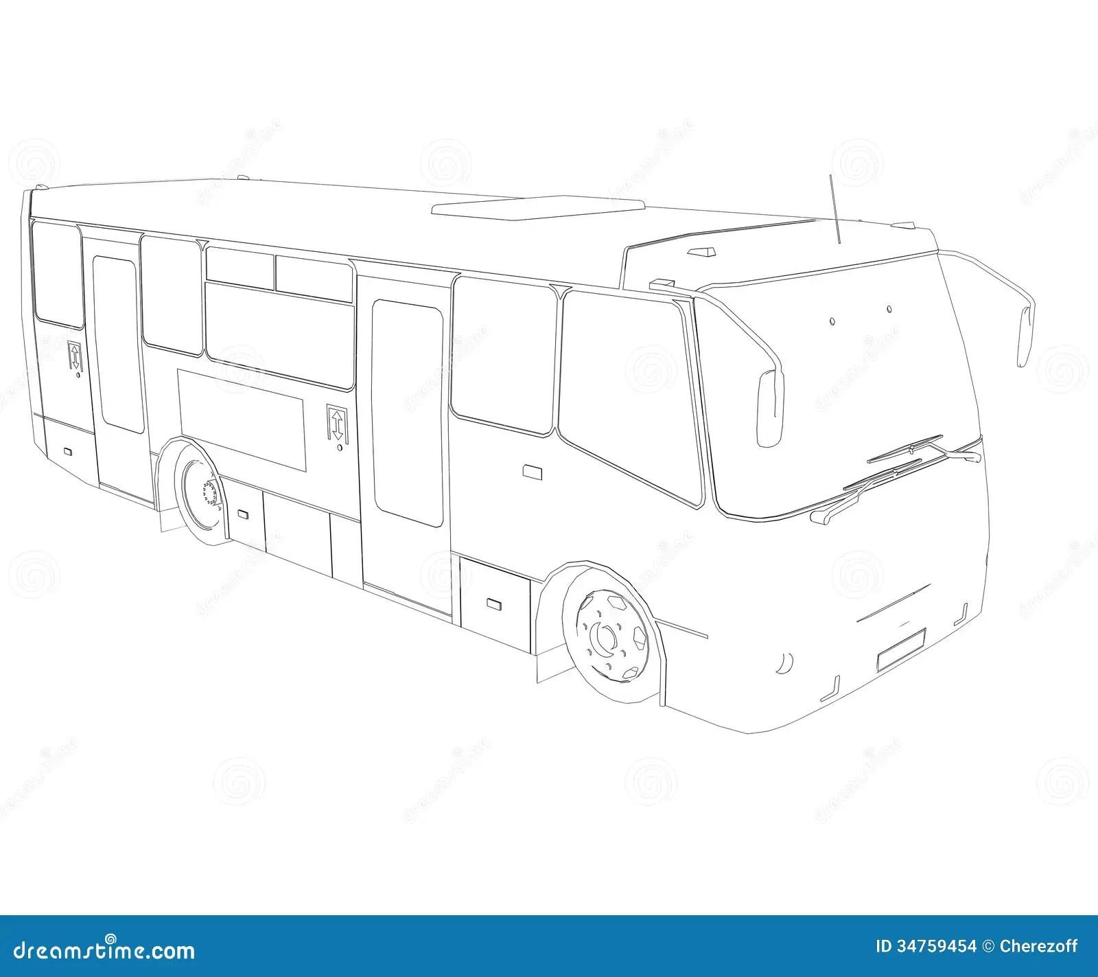 Grote Bus Draadkader Stock Afbeeldingen