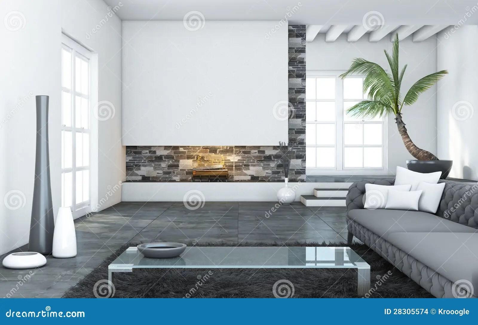 Grote Moderne Woonkamer stock illustratie Illustratie
