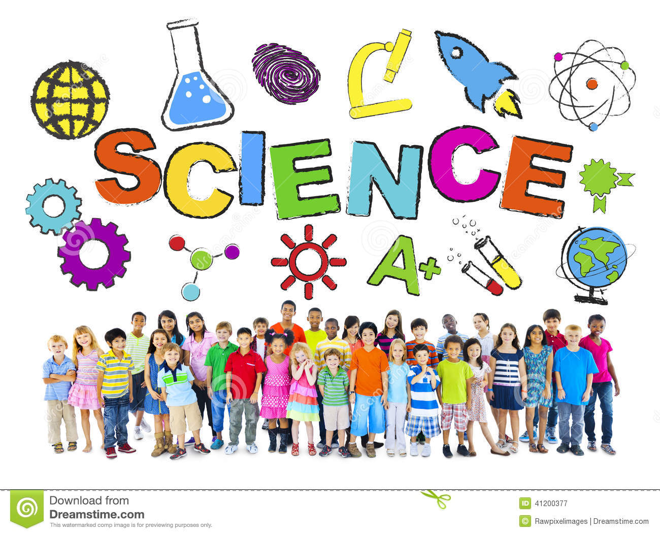 Group Of Children With Science Concept Stock Photo