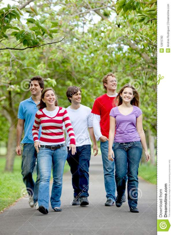 Group Of Friends Walking Stock Cheerful - 12815782