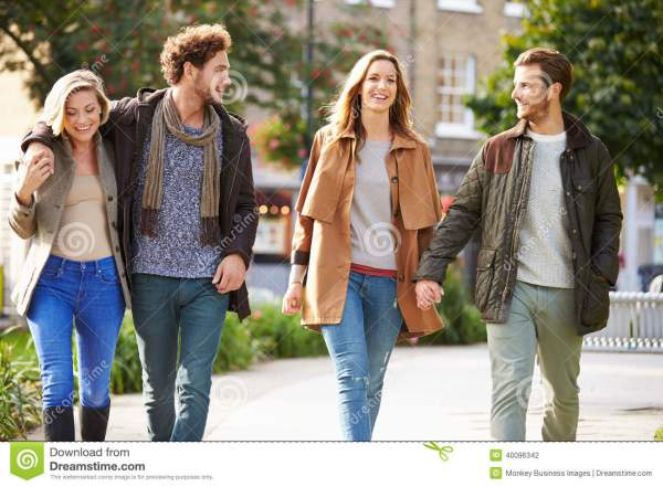 Group Of Friends Walking City Park Stock - Hands Person 40096342