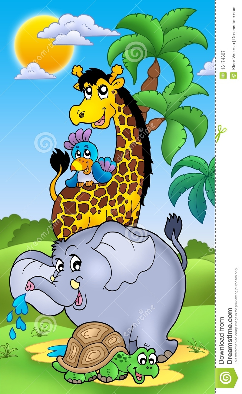 Group Of Happy African Animals Stock Illustration Image