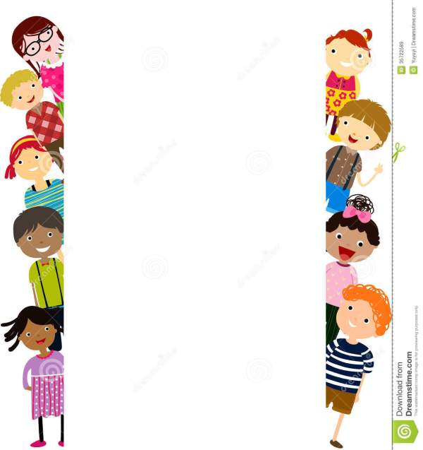 Group Of Kids Fun And Banner Royalty Free Stock - 35722589