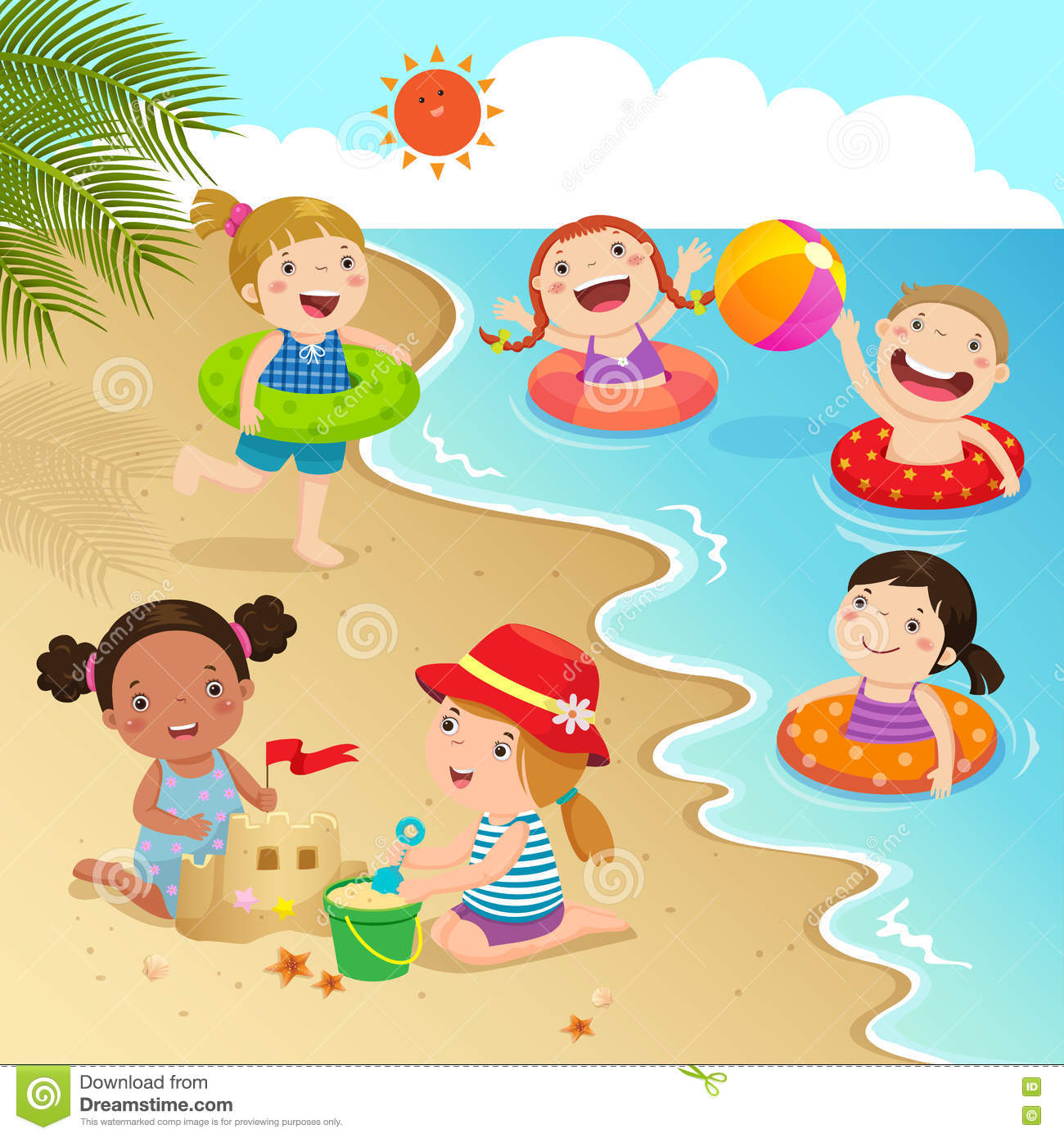 Group Of Kids Having Fun On The Beach Stock Vector