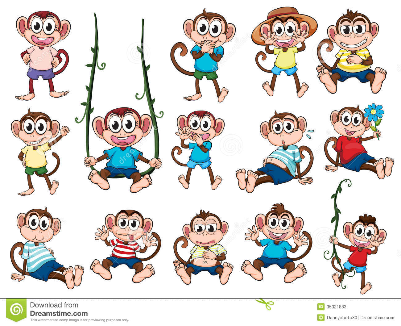 A Group Of Monkeys Stock Vector Illustration Of Giggling