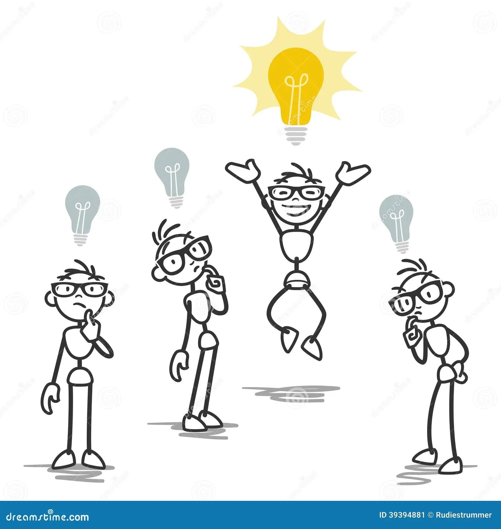 Group One Stick Man Having Bright Idea Stock Vector