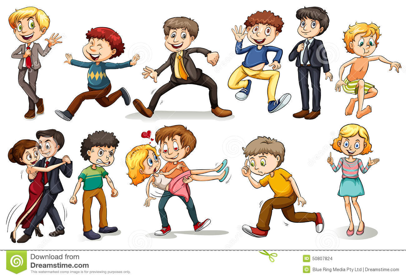 A Group Of People Doing Different Activities Stock Vector